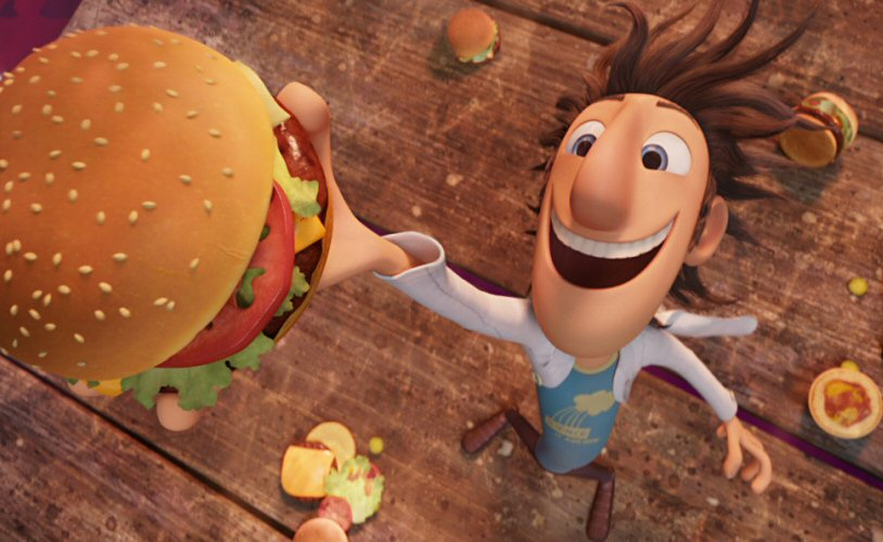 """Inventor, Flint Lockwood turns rain into food in """"Cloudy With a Chance of Meatballs""""."""
