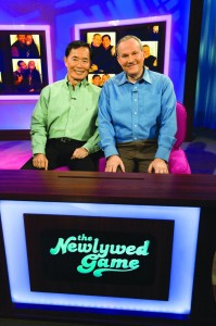 """First-ever same-sex couple, George Takei and Brad Altman on """"The Newlywed Game""""."""