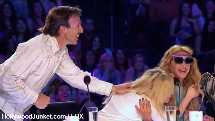 Memorable X FACTOR Moment - Neal scares Demi and caresses her hair!