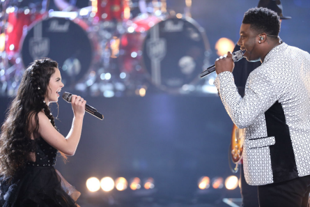 Pictured (l-r): Chevel Shepherd and Kirk Jay duet -- Photo by: Trae Patton/NBC