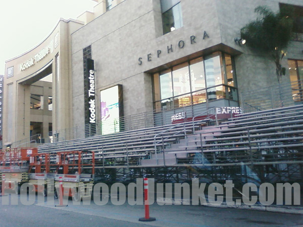 Bleachers are set-up outside the Kodak Theater for the Oscar fans!