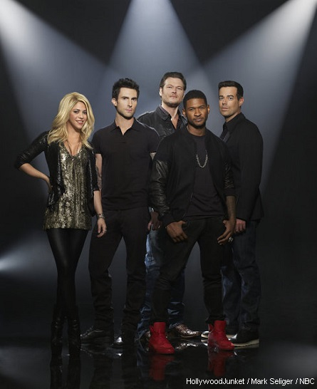 Shakira, Adam Levine, Blake Shelton, Usher, Carson Daly -- (Photo by: Mark Seliger/NBC)