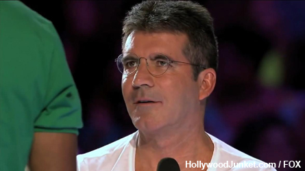 Memorable X FACTOR moment - Simon's reaction to Wesley kissing Kelly's hand.
