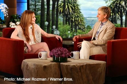 Pictured (l-r): Lindsay Lohan talks with Ellen DeGeneres.