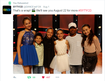 SYTYCD 2016 week 4, Top 6