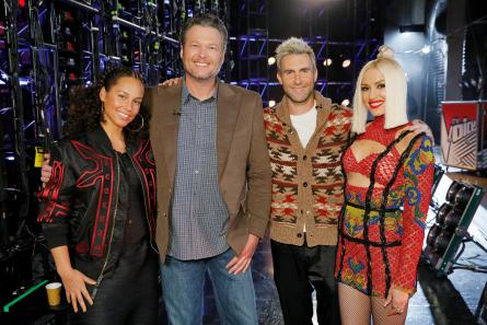The Voice 12 coaches Alicia, Blake, Adam, Gwen