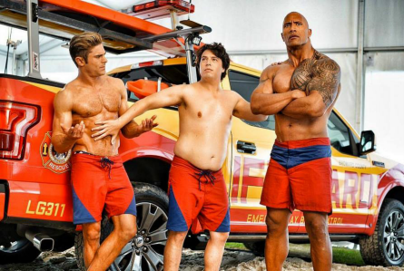 Baywatch movie, Zac Efron, Jon Bass, Dwayne Johnson