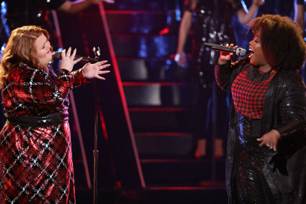Pictured (l-r): MaKenzie and Kymberli Joye duet - Photo, Tyler Golden/NBC