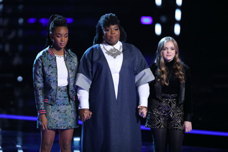 Pictured: (l-r) Kennedy Holmes, Kymberli Joye, Sarah Grace -- Photo by: Tyler Golden/NBC